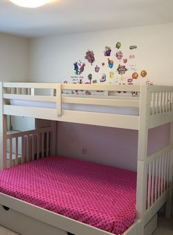White Twin/Full Bunk Bed & Storage/Trundle Unit for Sale in Severn,  MD