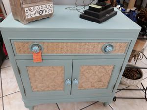 Accent table dresser teal wicker for Sale in Miami, FL