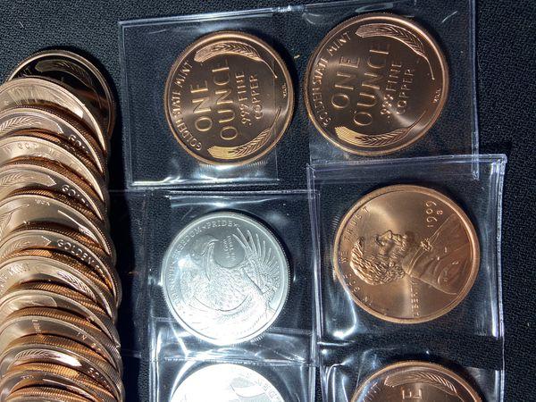 (2) Copper 1909 S 1oz Round