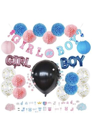 Gregory GT Gender Reveal Party Supplies for Boy or Girl Baby Shower (53 Piece Set) - Photo Props, Oh Baby Balloons, Black Reveal Balloon, Paper Lante for Sale in Piscataway, NJ