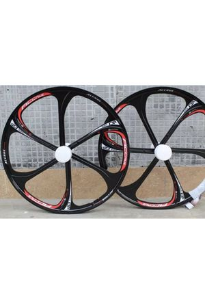 """Bicycle rims 26"""" inch black and red disc break rims brand new bike not included for Sale in New York, NY"""