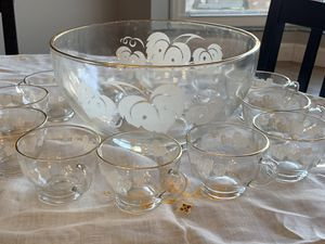 Painted Grape Leaf Punch Bowl set for Sale in Arvada, CO