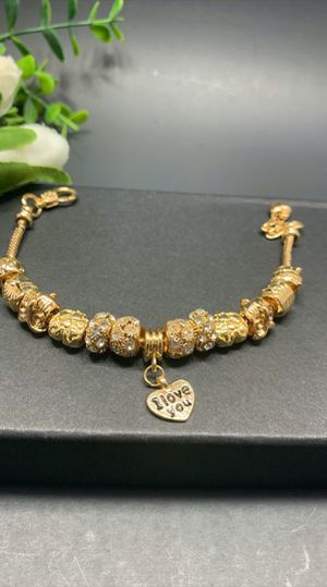 18K Gold Plated Austrian Crystal Rhinestone Star Love Heart Charm Bracelet, I love you for Sale in Tustin, CA