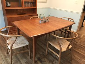 Mid-Century Dining Table and Hansen and Sons Wishbone Chairs for Sale in Fairfax, VA