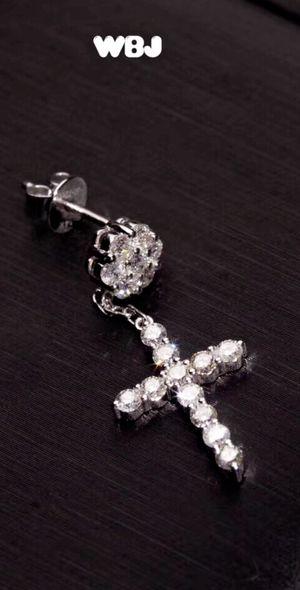 Custom white gold 10K Flower Cross diamond earring for Sale in Redondo Beach, CA