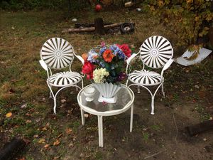 1930s Art Deco Sunburst Chairs by Francos Carre,Glass table,&matching Planter for Sale in Benzonia, MI
