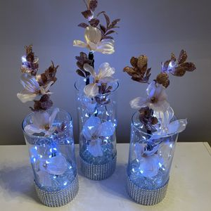 Rose Gold Silk Flowers Glass Vase Led Lights for Sale in Reston, VA
