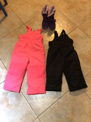 Snow bibs - 2T (black) and 4T (pink) and snow boot for Sale in Poway, CA