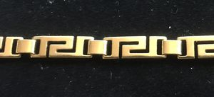 6 1/2 inch Greek key link bracelet - no markings gold tone or plated for Sale in Bothell, WA