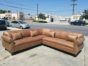 NEW 9X9FT CAMEL LEATHER SECTIONAL COUCHES for Sale in Stevenson Ranch, CA