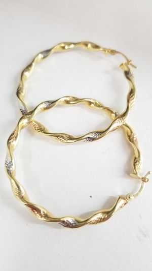3 Tone Diamond Cut 14k Gold Hoop Earrings for Sale in Los Angeles, CA