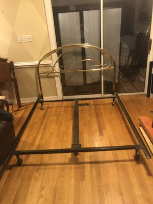 Queen size brass headboard and metal bed frame for Sale in Richmond, VA