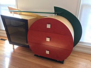 Contemporary sideboard/buffet red yellow & blue with glass shelf, cabinet, and drawers for Sale in Gaithersburg, MD