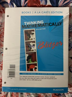 THINKING MATHEMATICALLY by Robert Blitzer 6th Edition for Sale in Hialeah, FL