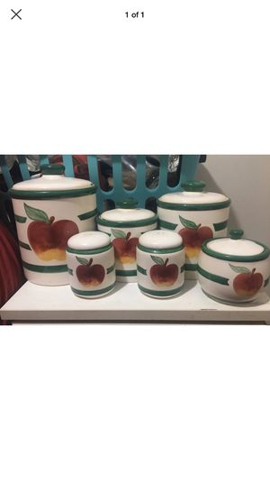 Apple canister and salt & pepper shaker set for Sale in Hermitage, AR
