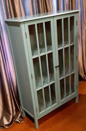 Storage Cabinet with Double Glass Doors for Sale in Tulsa, OK