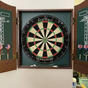 Dartboard In Cabinet And Wooden Poker Carousel for Sale in Calabasas, CA