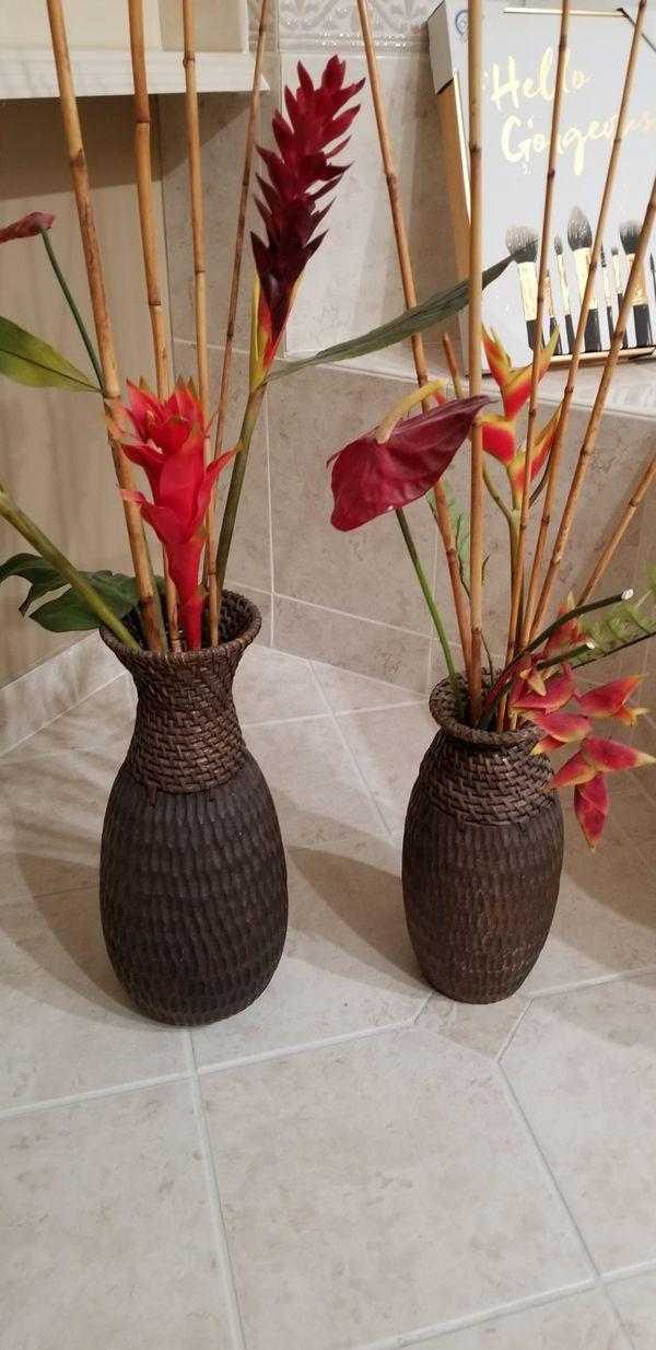 2 silk flower arrangements with exotic flowers