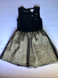 Girls Black & Gold Gather Lace Dress sz 6x/7 for Sale in Hayward,  CA