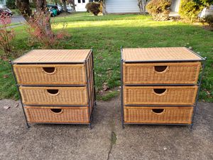Metal/Wicker 3 Basket Storage 2 Units-BOTH Excellent Condition! for Sale in Portland, OR