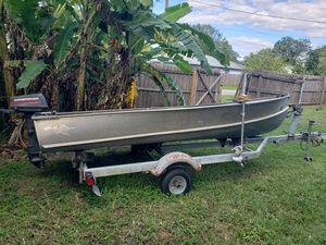 1967 Aluminum John Boat w trailer trolling motor and outboard for Sale in St. Cloud, FL