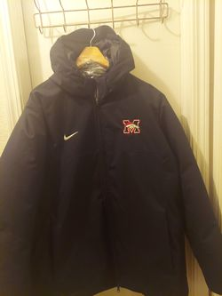 "New ""Nike Puffy Style"" Down Parka Sz XL Never Worn Black W/Hood & Mustang Broncos Logo6 for Sale in Edmond,  OK"