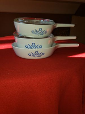 Corning ware blue cornflower vintage. 2 blue pyrex for Sale in Decatur, GA