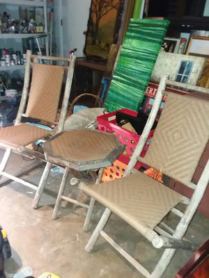 2 outdoor wood folding chairs 38 inches tall & folding patio table for Sale in Missouri City, TX