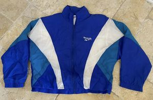 Vintage Reebok Windbreaker Logo Jacket Colorful Blue Green - Mens Large for Sale in Washington, DC