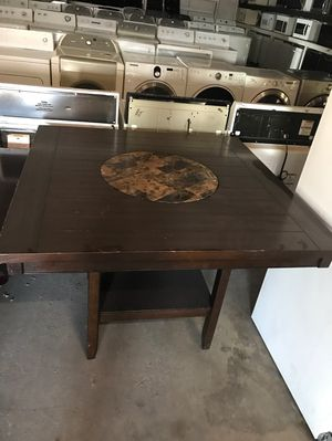 "Dark Wood 48""x 48"" Dining Table with Granite Inlay for Sale in Phoenix, AZ"