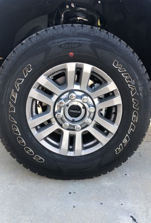 """2019 F250 Wheels 18"""" Wheels with Tires 275/70/18 Goodyear Wranglers for Sale in Yorba Linda, CA"""