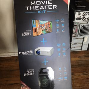 BRAND NEW MOVIE THEATER KIT U GET SCREEN, PROJECTOR AND PARTY SPEAKER for Sale in Fresno, CA
