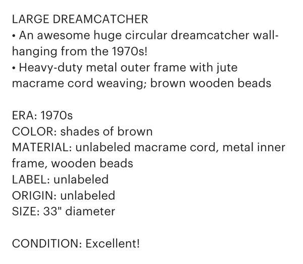 Vintage 70s Macrame Dreamcatcher Wall Hanging