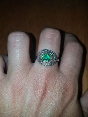Sterling silver emerald and white sapphire ring size 8 for Sale in Dundalk, MD