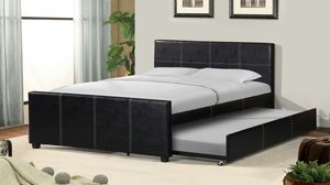 NEW Leather Bed frame with pull out trundle for Sale in Ontario, CA