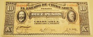 Uncirculated 10 Pesos Mexicanos El Estado de Chihuahua 10 de Febrero de 1914 for Sale in Alhambra, CA