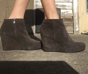 Grey suede wedge ankle boots sz 40 for Sale in Stanwood, WA
