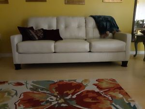 New ivory white leather couch from Ahley 7.5 ft. Long for Sale in Rex, GA