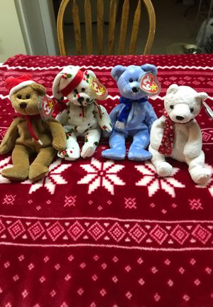 Ty beanie baby set of 4 Holiday Teddy's 1997,1998,1999,2000 Mint Condition for Sale in Kannapolis, NC