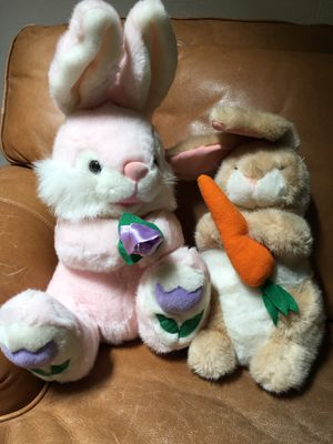 2 brand new soft plush bunnies both for $8 for Sale in Fresno, CA
