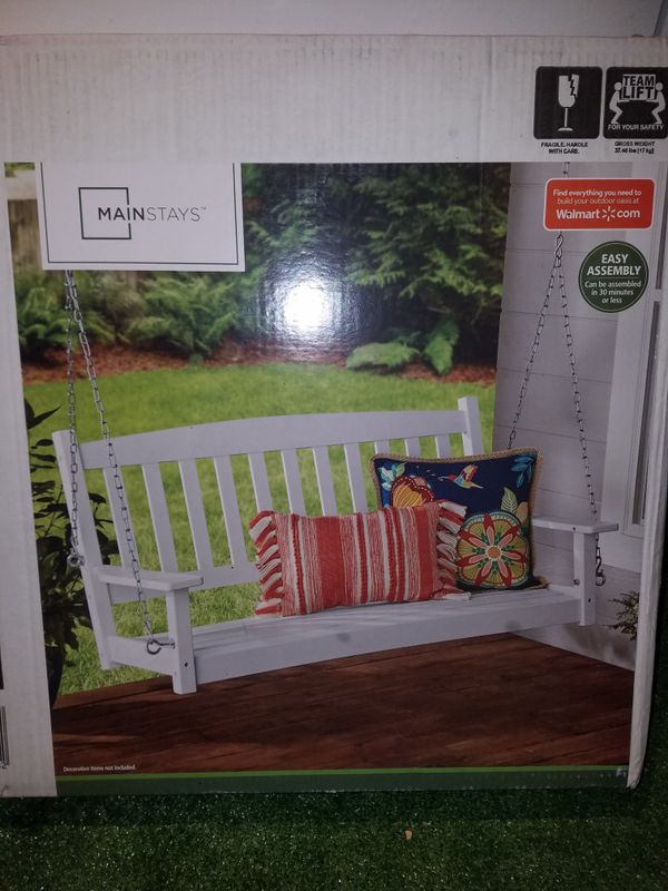 BRAND NEW Mainstays Outdoor Wood Porch Swing, White