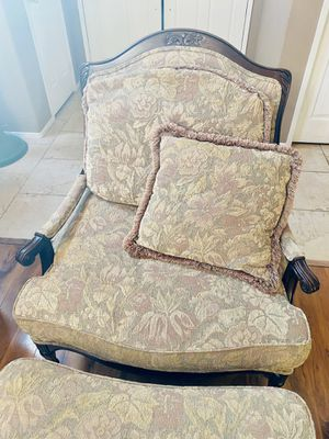 Mahogany Wood Chair and Ottoman 2-piece set for Sale in Hemet, CA