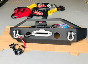 Jeep front bumper with warn 10k winch (remote) and accessories-never use for Sale in Katy, TX