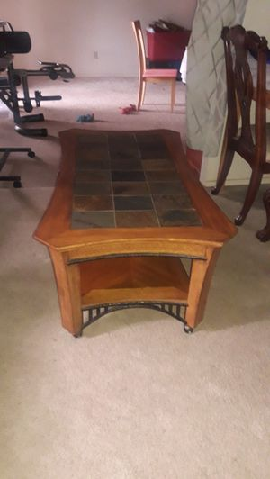 Slate, Iron, and Wood Coffee Table for Sale in Winton, CA