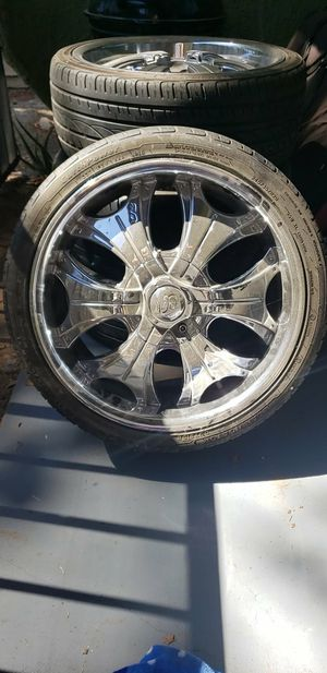 2 tires 20 Inch U2 chrome rims for Sale in Palmdale, CA