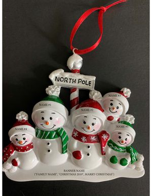 North Face Snowmen Family of 5 Personalized Christmas Tree Ornament for Sale in Herndon, VA