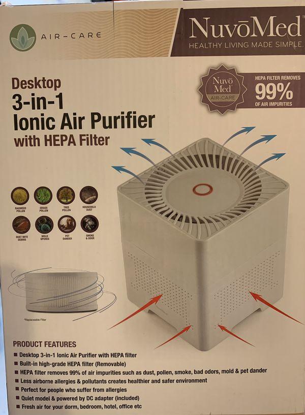 Ionic Air Purifier Hepa Filter Desktop 3-in-1 😷🦠