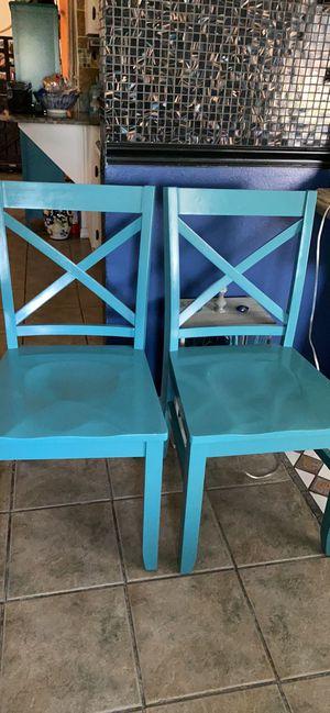 Set of (2) aqua-solid wood- Chairs-$25 each. for Sale in Sebastian, FL