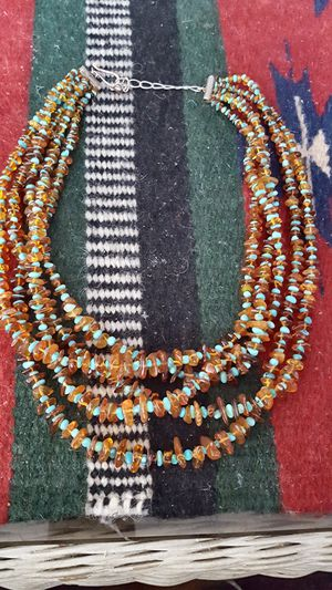 """1960s 24""""AUTH 1/2*NAVAJO INDIAN HANDMADE AAA. SLEEP BEAUTY TURQ & GOLDEN AMBER 5 STRAND STERLING SILVER CLASP NK.. ASK $365 BO RET $995 SPECIAL for Sale in Houston, TX"""