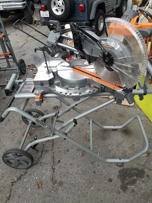RIDGID 15 Amp 12 in. Dual Bevel Sliding Miter Saw with Mobile Miter Saw Stand for Sale in Fresno, CA